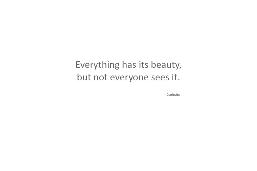 Confucius says that everything has its beauty, but not everyone sees it.