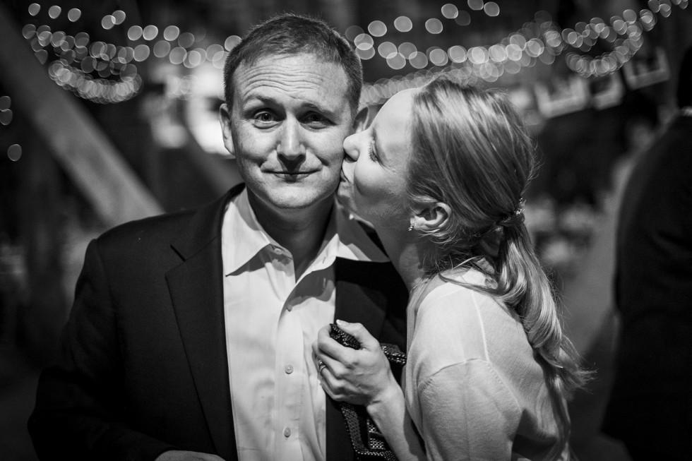 David and Kendra kiss at Ratsbury Barn